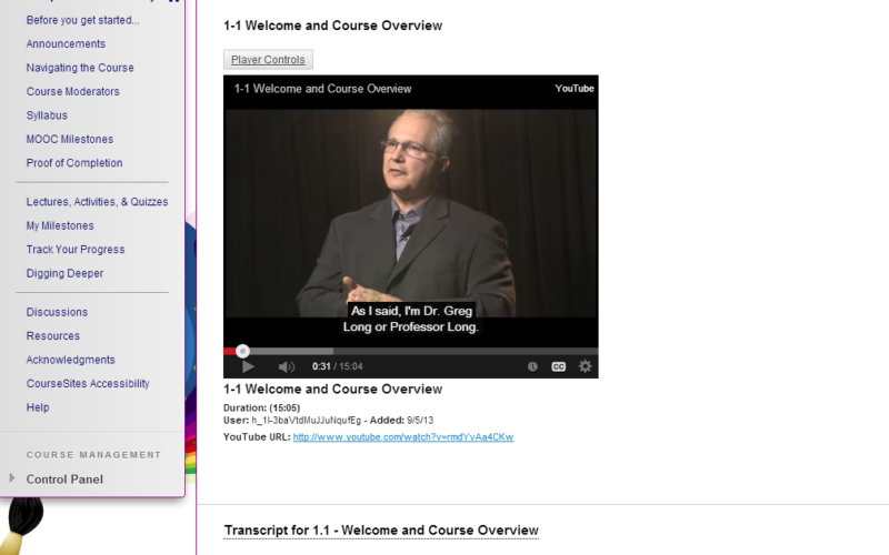 Screenshot of MOOC demonstrating UDL features