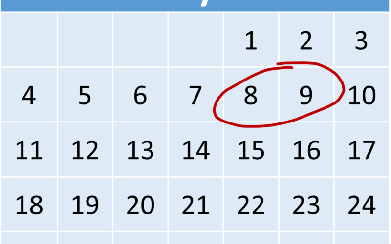 january calendar with 8 and 9 circled