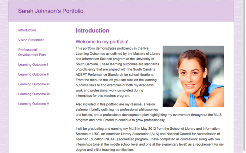 blackboard portfolio sample