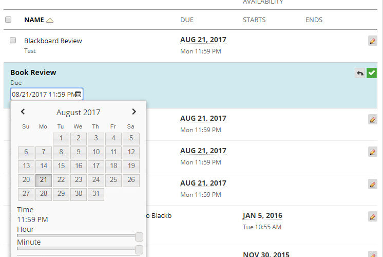 reviewing and updating dates using the date management tool