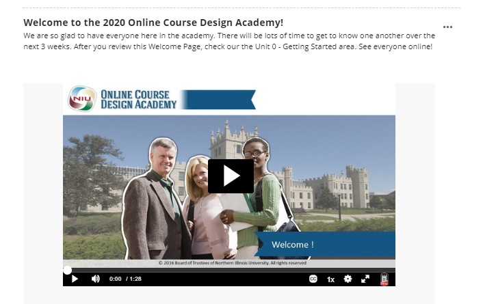 welcome screen of online course design academy welcome video