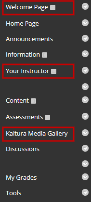default course menu in Ultra Course View