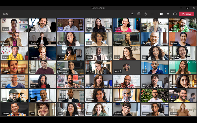 large gallery view in Teams, allows for viewing 49 videos feeds at once