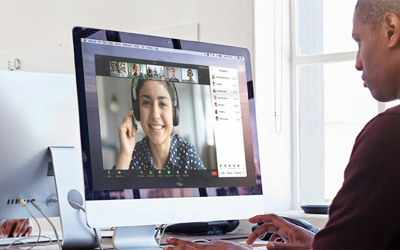 student participating in a Zoom session