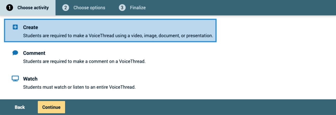 screenshot of new VoiceThread feature Choose activity: Create