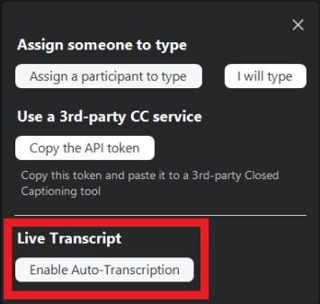click Enable Auto Transcription